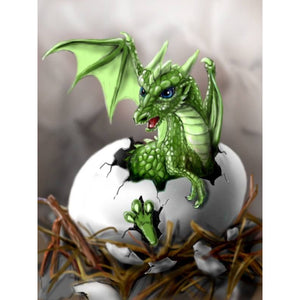 Diamantmaleri - Dragon Baby - Flytende stiler - Diamantbroderi - Maling med Diamond