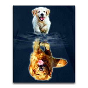 Diamond painting - Golden Retrievers - Grow Up - Floating Styles - Diamond Embroidery - Paint With Diamond