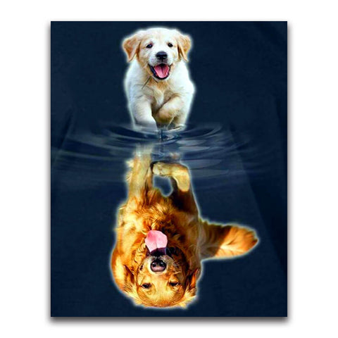 Immagine di Diamond painting - Golden Retriever - Crescere - Stili fluttuanti - Ricamo a diamante - Dipingi con diamante