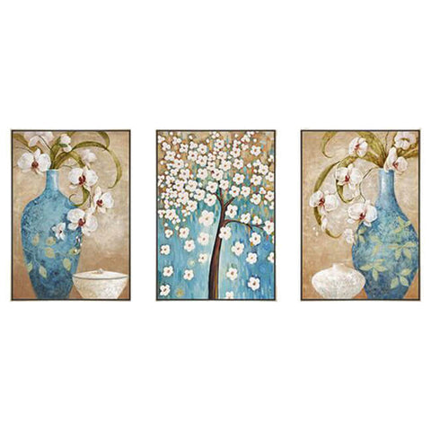 3 Panels Diamond Painting - Flores & Vasos - Estilos Flutuantes - Diamond Embroidery - Paint With Diamond