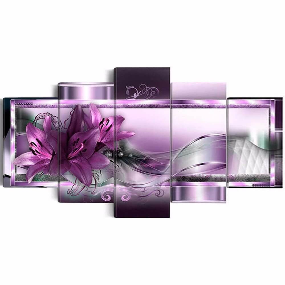 5 Panels Diamond Painting - Purple Lily Flower - Floating Styles - Diamond Embroidery - Paint With Diamond
