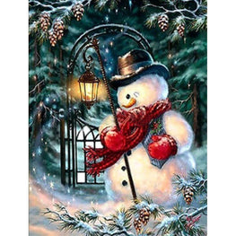 Round Diamond Painting - Mr Snowman - Floating Styles - Diamond Embroidery - Paint With Diamond