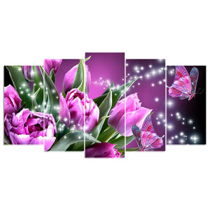 5 Panels Diamond Painting - Rose & Butterfly - Floating Style - Diamond Haft - Paint With Diamond