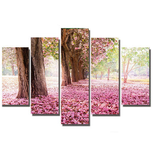 5 Panels Diamond Painting - Fallen Sakura Flowers - Stili fluttuanti - Diamond Embroidery - Paint With Diamond