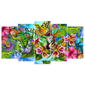 5 Panels Diamond Painting - Butterfly - 02 - Stili galleggianti - Ricamo a diamante - Vernice con diamante