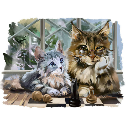 Diamond Painting - Cat - 할머니와 I - 플로팅 스타일 - Diamond Embroidery - Diamond로 페인트