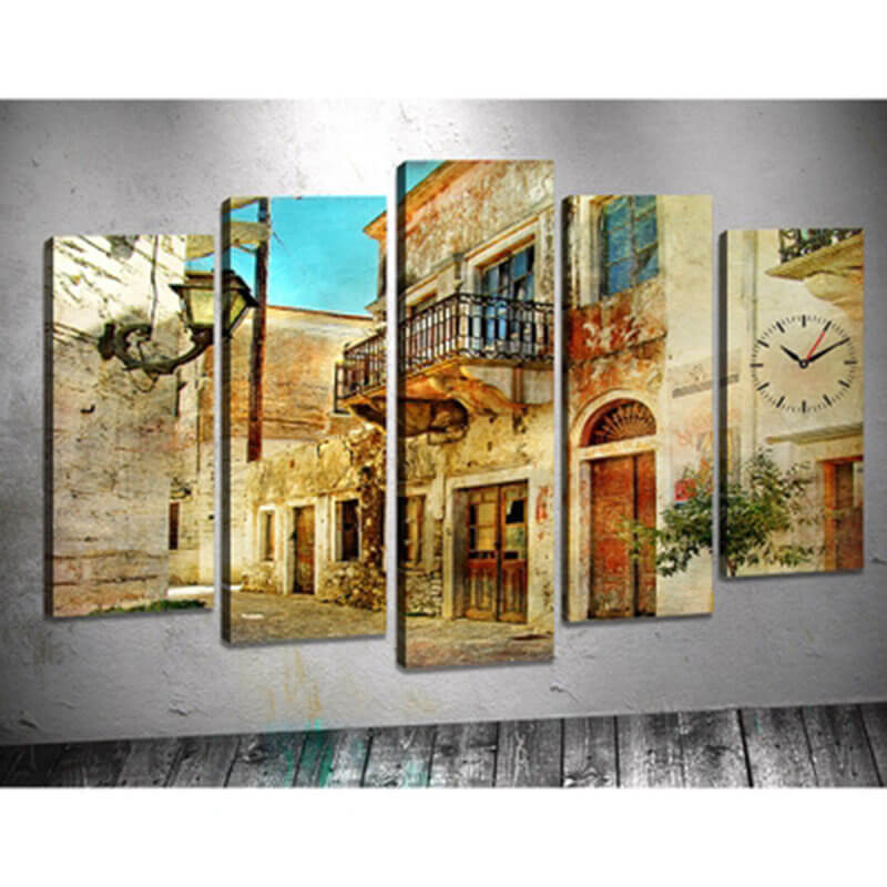 5 Panels Diamond Painting - Old Town - Floating Style - Diamond Haft - Paint With Diamond