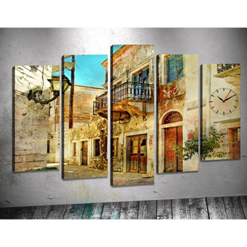 Image of 5 Panels Diamond Painting - Old Town - Floating Styles - Diamond Embroidery - Paint With Diamond