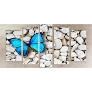 5 Panels Diamond Painting - Blue Butterfly - Floating Style - Diamond Haft - Paint With Diamond