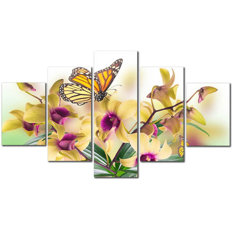 5 Panels Diamond Painting - Butterfly and Flower - Stili fluttuanti - Ricamo a diamante - Dipingi con diamante
