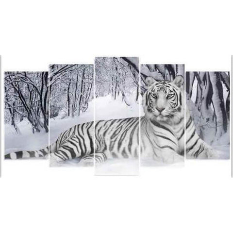 Image of 5 Panels Diamond Painting - A Snow Tiger - Floating Styles - Diamond Embroidery - Paint With Diamond