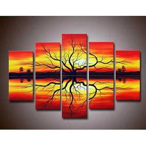 5 Panels Diamond Painting - Old Tree In The Sunset - Floating Styles - Diamond Embroidery - Paint With Diamond