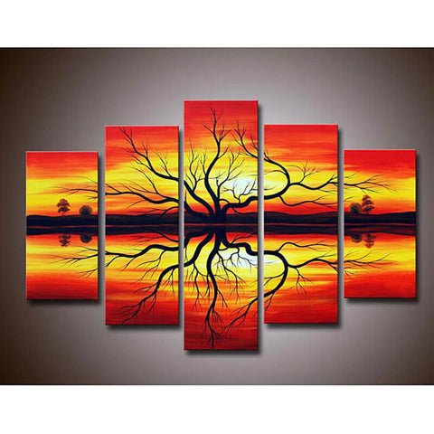 5 Panels Diamond Painting - Old Tree In The Sunset - Stili fluttuanti - Ricamo a diamante - Dipingi con diamante