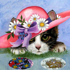 Pintura diamante - Little Red Hat Cat - Estilos flotantes - Bordado de diamantes - Pintura con diamante
