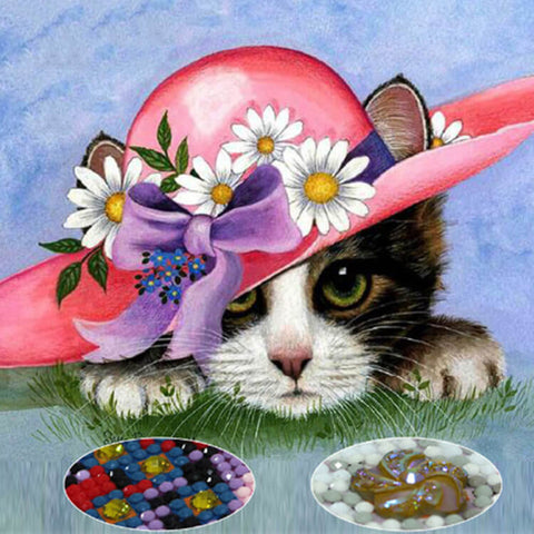 Obraz malarstwa diamentowego - Little Red Hat Cat - Floating Style - Diamentowy haft - Paint With Diamond