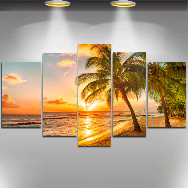 5 Painéis Diamante Pintura - Coastal Beach Sunset - Estilos Flutuantes - Diamante Bordado - Pinte Com Diamante