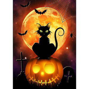 Diamentowe malowanie - Halloween Pumpkin Cat - Floating Style - Diamond Haft - Paint With Diamond