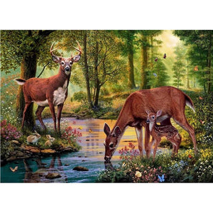 Pintura Diamante - Deers By The Creek - Estilos Flutuantes - Diamante Bordado - Pintar com Diamante