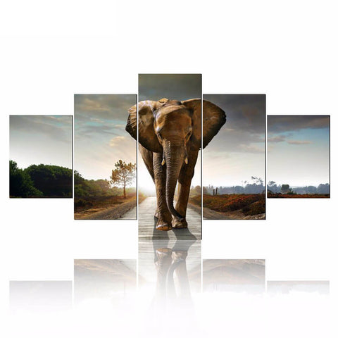 Bild von 5 Panels Diamond Painting - Elephant - Floating Styles - Diamantstickerei - Mit Diamant malen