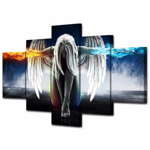 5 Panels Diamond Painting - An Angel of Ice and Fire - Floating Styles - Diamond Embroidery - Paint With Diamond