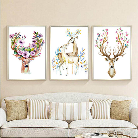 Imagem de 3 Painéis Diamond Painting - Elegant Dears - Estilos Flutuantes - Diamond Embroidery - Paint With Diamond