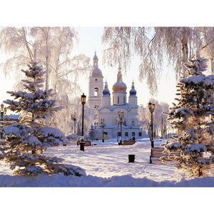 Diamond Painting - Cathedral In Winter Sunshine - Floating Styles - Diamond Embroidery - Paint With Diamond