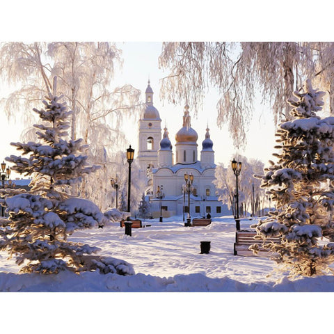 Image of Diamond Painting - Cathedral In Winter Sunshine - Floating Styles - Diamond Embroidery - Paint With Diamond