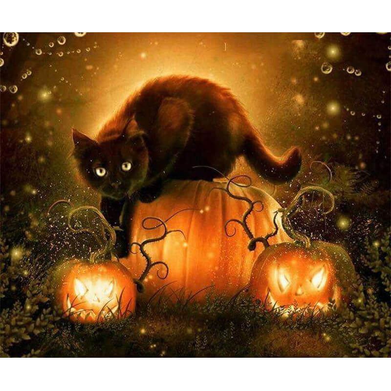 Diamantmalerei - Halloween Katze - Floating Styles - Diamantstickerei - Malen mit Diamant