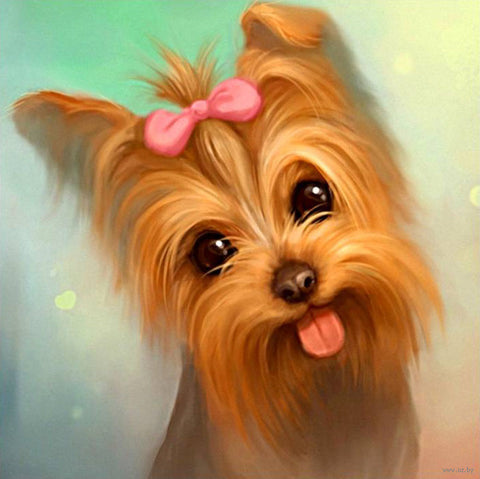 Bild der Diamantmalerei - Yorkshire Terrier Dog II - schwimmende Stile - Diamantstickerei - Malen mit Diamant