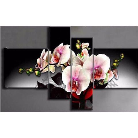 4 Panels Diamond Painting - Orchid Flower - Floating Style - Diamond Haft - Paint With Diamond