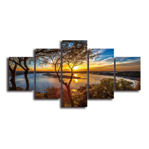 5 Panelen Diamond Painting - Sunset By The Lake - Drijvende stijlen - Diamond Embroidery - Paint With Diamond
