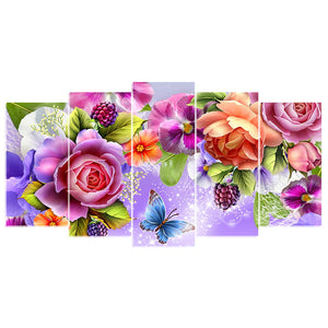 5 Panels Diamond Painting - Rose & Butterfly 02 - Floating Style - Diamond Haft - Paint With Diamond