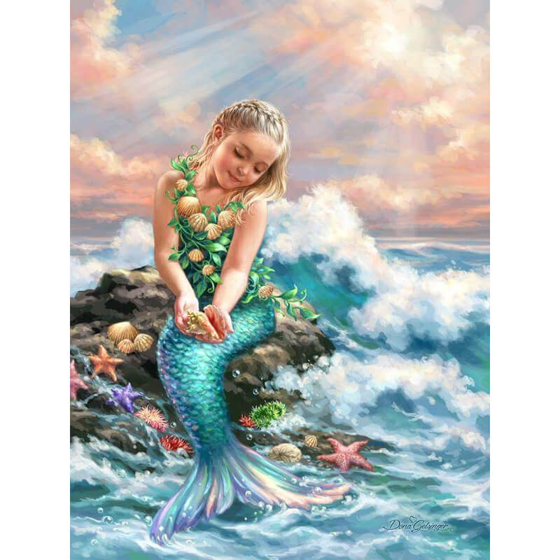 Pintura de diamantes - Little Mermaid Girl - Estilos flotantes - Bordado de diamantes - Pintura con diamante