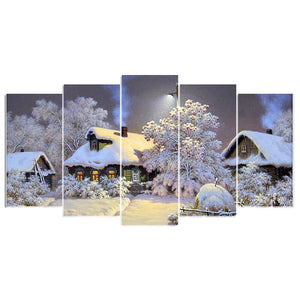 5 Panels Diamond Painting - Snow House - Estilos flotantes - Bordado de diamantes - Pintura con diamante