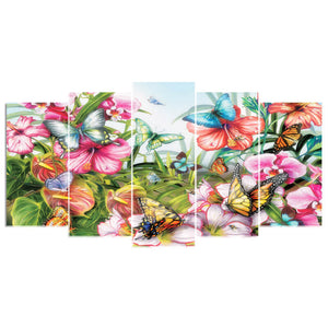 5 Panels Diamond Painting - Butterfly - 01 - Stili galleggianti - Ricamo a diamante - Vernice con diamante