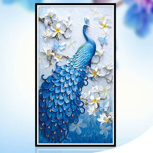 Diamond Painting - Peacock And Flowers - Stili fluttuanti - Ricamo a diamante - Dipingi con diamante