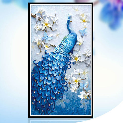 Immagine di Diamond Painting - Peacock And Flowers - Stili fluttuanti - Diamond Embroidery - Paint With Diamond