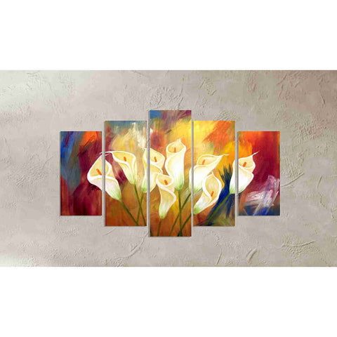 5 Panels Diamond Painting - Yellow Lily Flowers - Floating Styles - Diamond Embroidery - Paint With Diamond