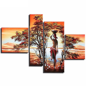 5 Panels Diamond Painting - Fantasy Girl By The Lake - Stili galleggianti - Diamante Ricamo - Dipingi con diamante