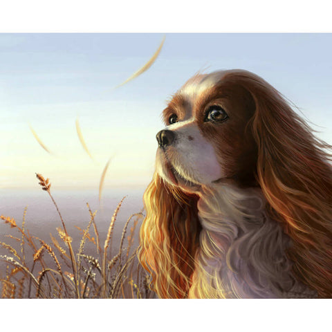 Diamond Painting - Cavalier King Charles Spaniel In the breeze - Drijvende stijlen - Diamantborduurwerk - Verf met diamant
