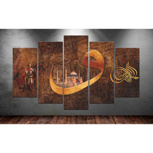 5 Panels Diamond Painting - Ancient Mural - Floating Styles - Diamond Embroidery - Paint With Diamond
