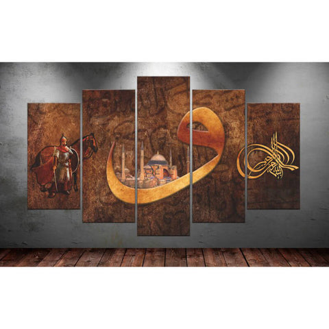 Immagine di 5 Panels Diamond Painting - Ancient Mural - Stili fluttuanti - Diamond Embroidery - Paint With Diamond