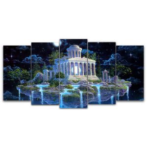 5 Panels Diamond Painting - Moon Light Shrine - Stili fluttuanti - Diamond Embroidery - Paint With Diamond