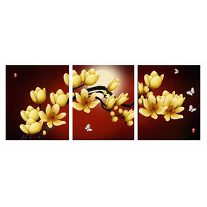 3 Panels Diamond Painting - Yellow Orchid - Floating Styles - Diamond Embroidery - Paint With Diamond