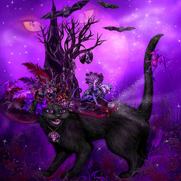 Diamond Painting - Cat In Goth Witch Hat - Floating Styles - Diamond Embroidery - Paint With Diamond