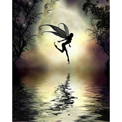 Diamond Painting - Halloween Black Fairy - Floating Style - Diamond Haft - Paint With Diamond