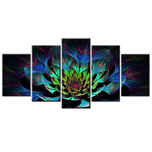 5 Panels Diamond Painting - Amazing Fractal Flower - Floating Style - Diamond Haft - Paint With Diamond
