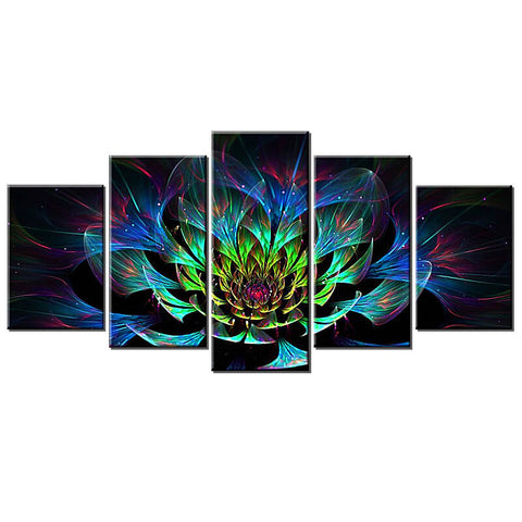 Immagine di 5 Panels Diamond Painting - Amazing Fractal Flower - Stili fluttuanti - Diamond Embroidery - Paint With Diamond