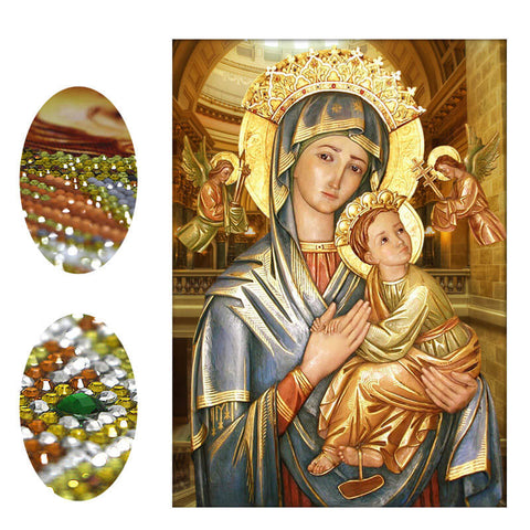 Immagine di Diamond Painting - The Virgin and Child (area di incollaggio parziale) - Stili fluttuanti - Ricamo a diamante - Dipingi con diamante