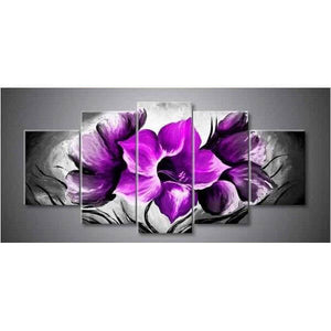 5 Panelen Diamond Painting - Violette - Drijvende stijlen - Diamond Embroidery - Paint With Diamond